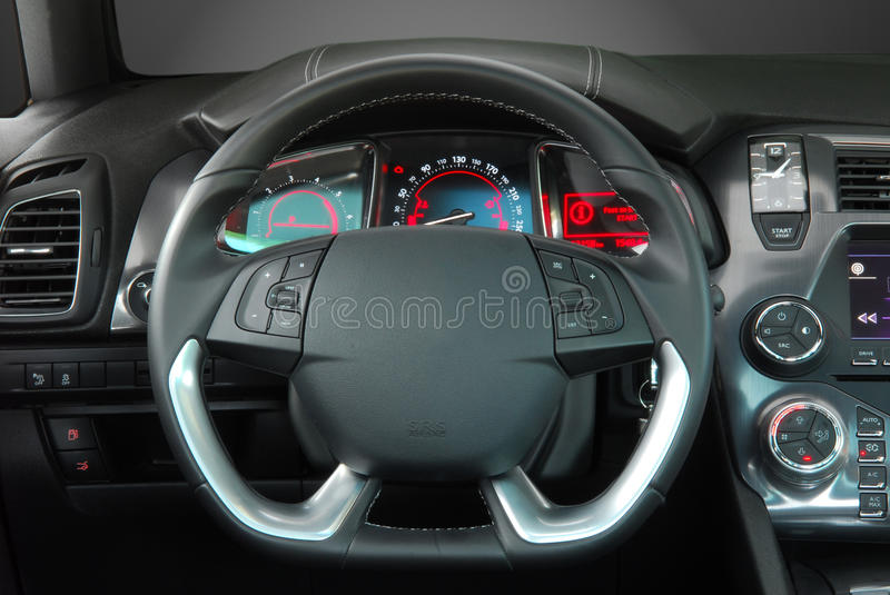 Steering wheel. In the new modern car royalty free stock photography