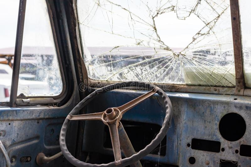 Steering wheel of an old abandoned rusty car.  stock photography