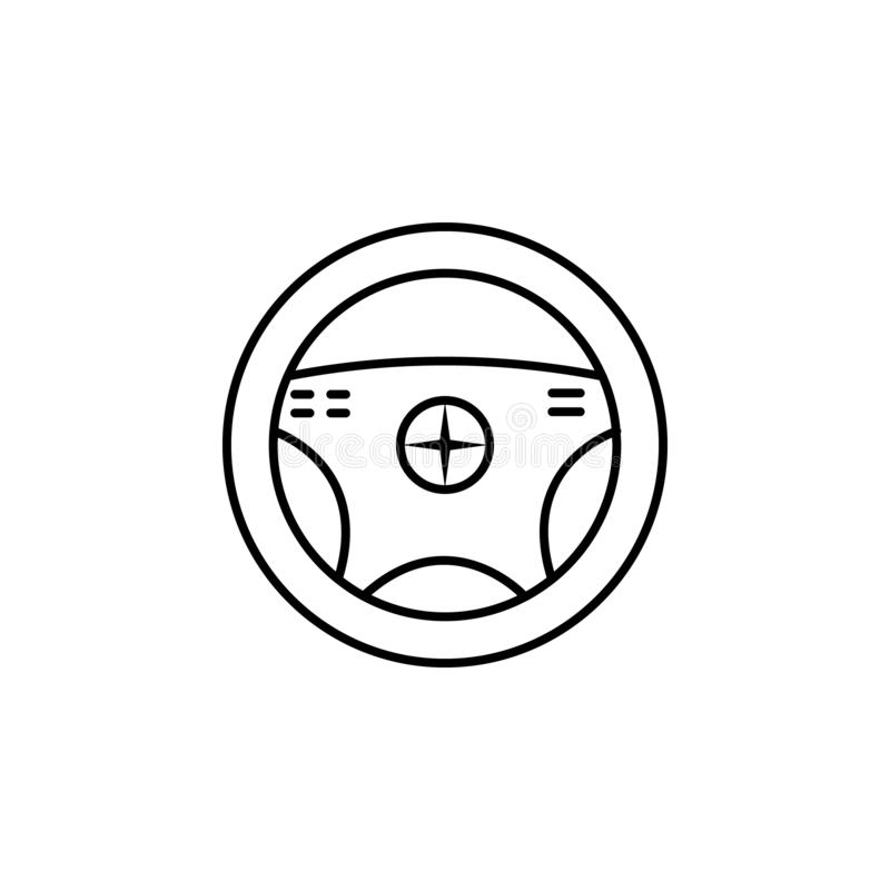 Steering, wheel outline icon. Can be used for web, logo, mobile app, UI, UX. On white background stock illustration