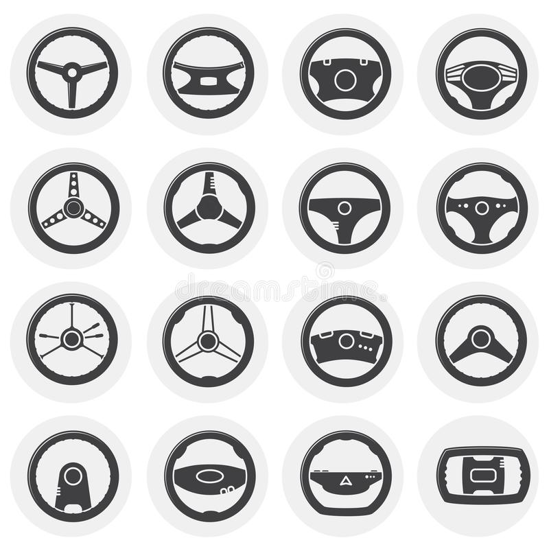 Steering wheel related icon set on background for graphic and web design. Simple illustration. Internet concept symbol. For website button or mobile app royalty free illustration