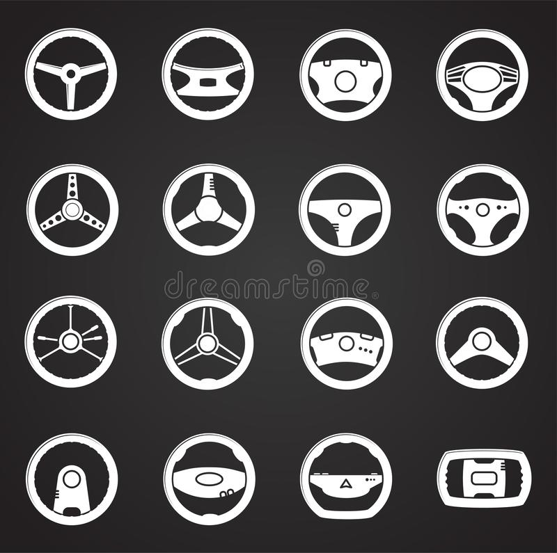 Steering wheel related icon set on background for graphic and web design. Simple illustration. Internet concept symbol. For website button or mobile app vector illustration