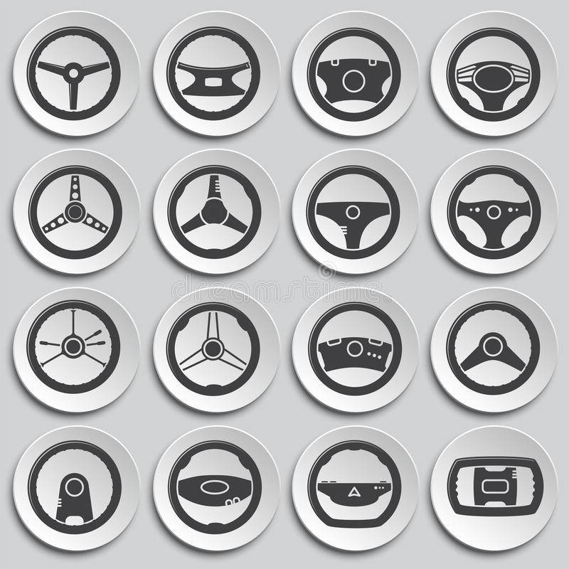 Steering wheel related icon set on background for graphic and web design. Simple illustration. Internet concept symbol. For website button or mobile app stock illustration