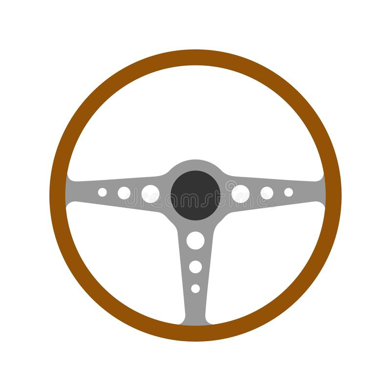 Free Steering Wheel Retro Car Icon Isolated On White Background. Car Wheel Control Silhouette, Antique Wooden Classic Car Royalty Free Stock Photography - 140578397