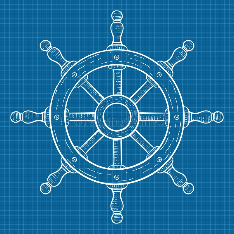 Steering wheel. Sketch on blueprint grid background stock illustration