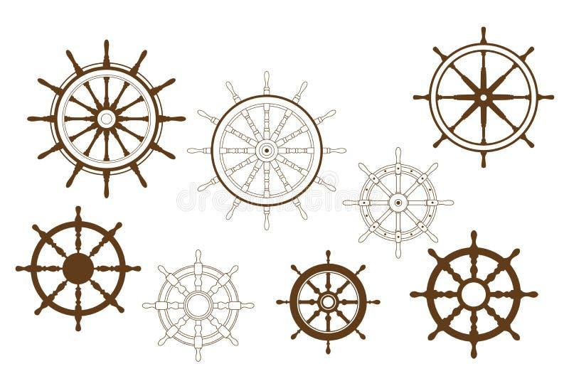 Steering wheels set royalty free illustration