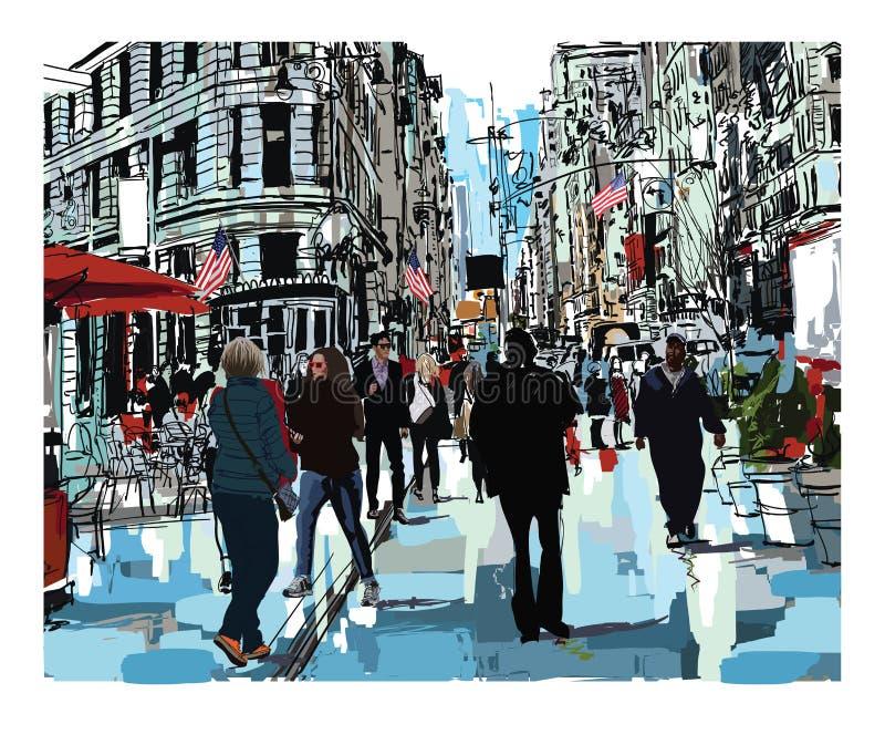 Steet στην πόλη της Νέας Υόρκης απεικόνιση αποθεμάτων