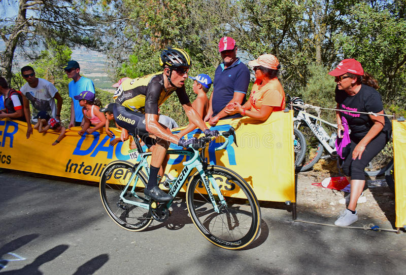 Stef Clement Team Lotto Jumbo La Vuelta España Cycle Race. The Bianchi bike rider near the mountain top finish in the 2017 La Vuelta Espana bike race royalty free stock photo