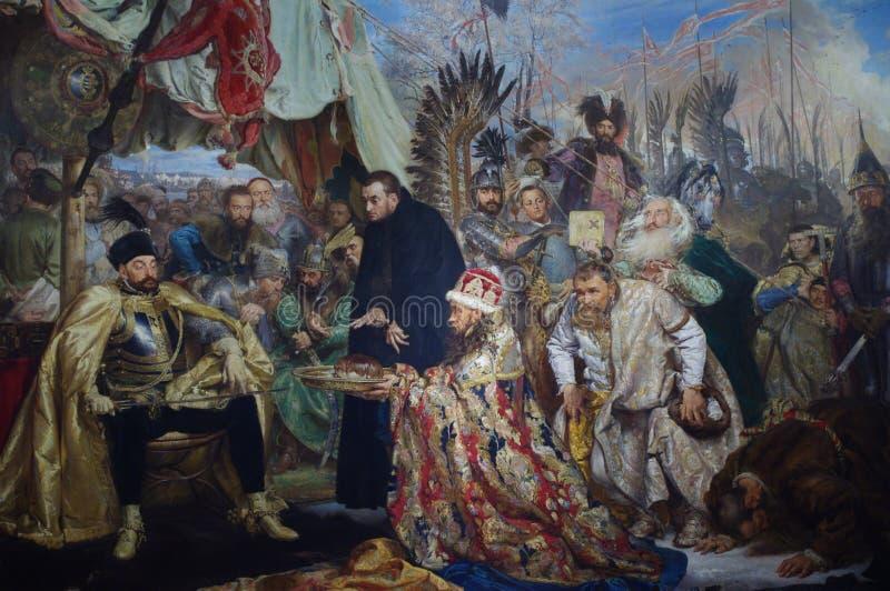 Stefan Batory at Pskov painting by Jan Matejko. Stefan Batory at Pskov, an 1872 history painting by the Polish artist Jan Matejko, at the Royal Castle in Warsaw stock image