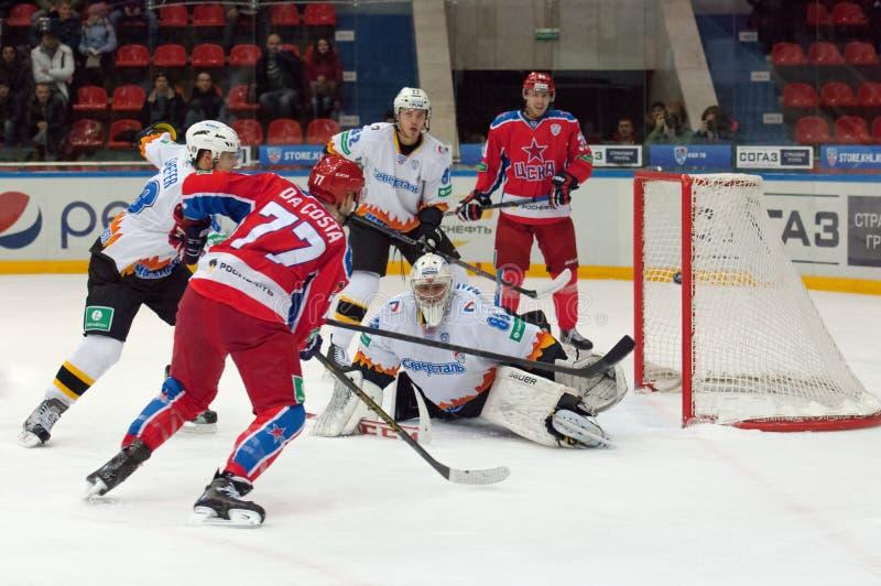 Stefan Da Costa (77) goal. MOSCOW - DECEMBER 3: Stefan Da Costa (77) goal on game CSKA vs Severstal on Russian KHL premier hockey league Championship on December royalty free stock image