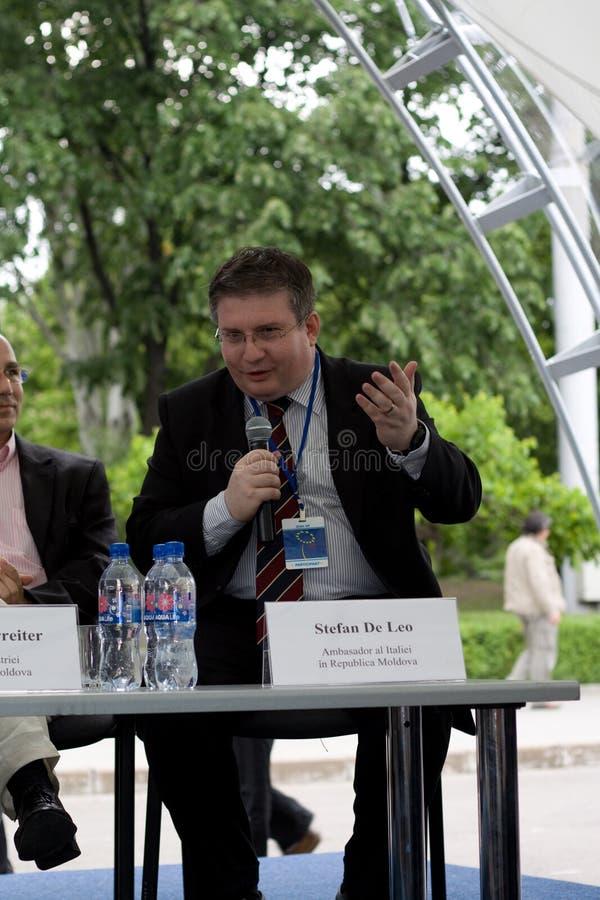 Stefan de Leo, italian ambassador. 15 may 2010 Chishinau. Moldova is celebrated Europe Day. Stefan de Leo, italian ambassador in Moldova, Republic Of, talking on royalty free stock photo