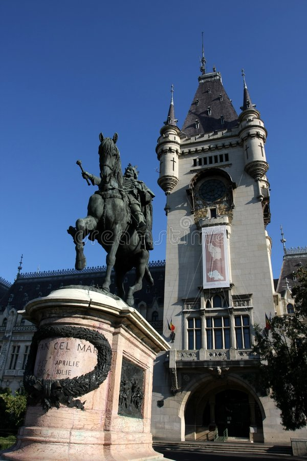 Stefan's statue in Iasi. The tower of the Palace of Culture is in the background stock photo