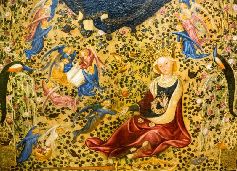 Stefano da Верона 1375 до 1438, красящ, Madonna del Roseto в музее Castelvecchio verona стоковые изображения