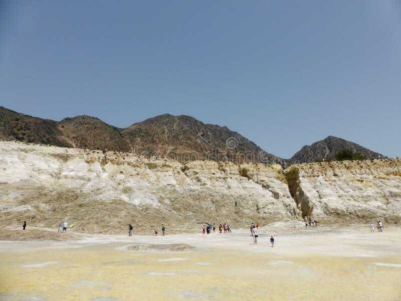 Stefanos火山口 在尼西罗斯岛海岛上的火山  希腊 图库摄影