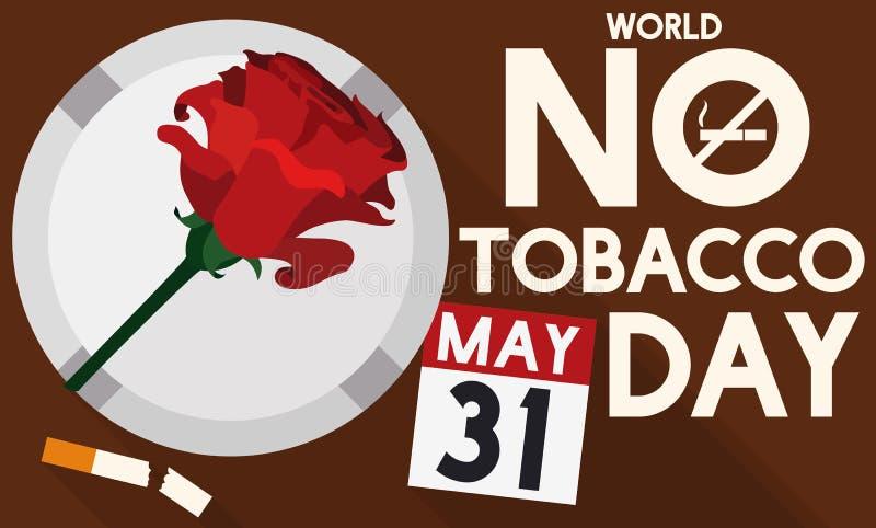 , Steg askfatet, den brutna cigaretten och kalendern för ingen tobakdag, vektorillustration stock illustrationer