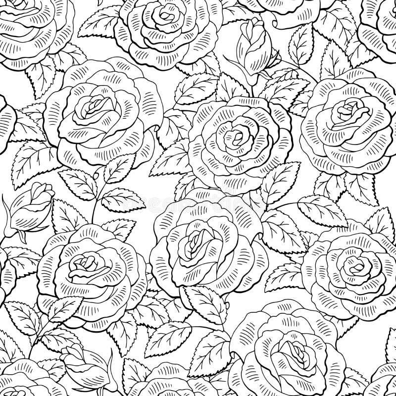 Steg blommadiagramsvart som den vita sömlösa modellen skissar bakgrundsillustrationvektorn stock illustrationer