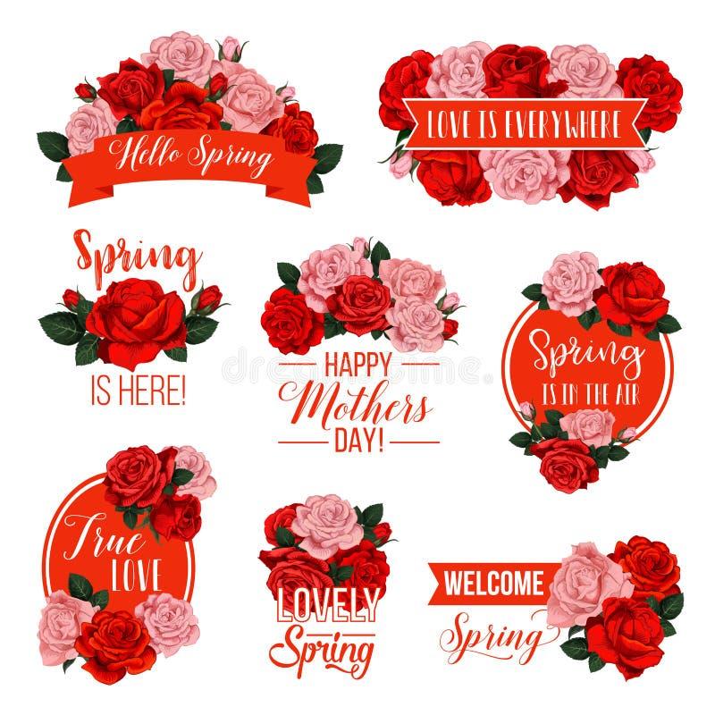 Steg blommaemblemet för mors dagvårferie stock illustrationer