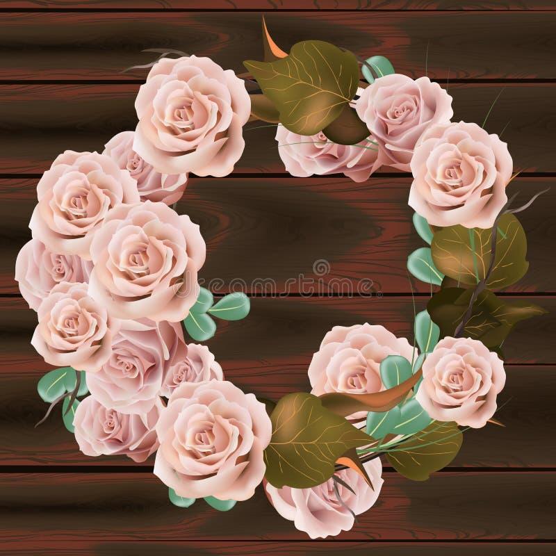 Steg blommakransvektorn Delikat rosa blom- rund ram Valentine Day kort Mörka trätexturbakgrunder royaltyfri illustrationer