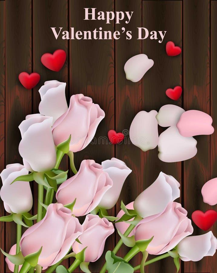 Steg blommor och hjärtor på wood bakgrund Lyckliga Valentine Vector illustrationer vektor illustrationer