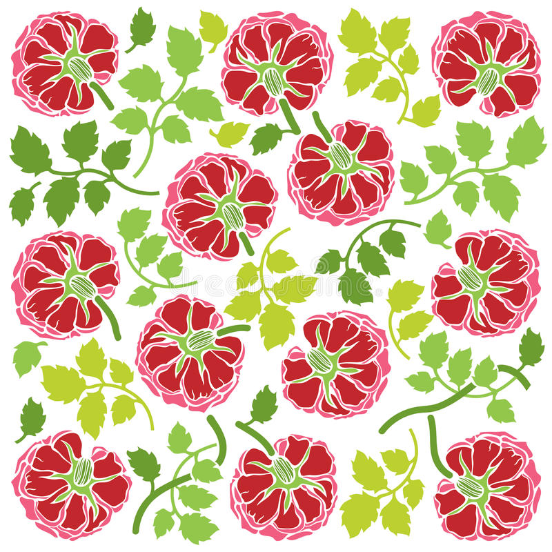 Steg blommor och sidaprydnaden vektor illustrationer