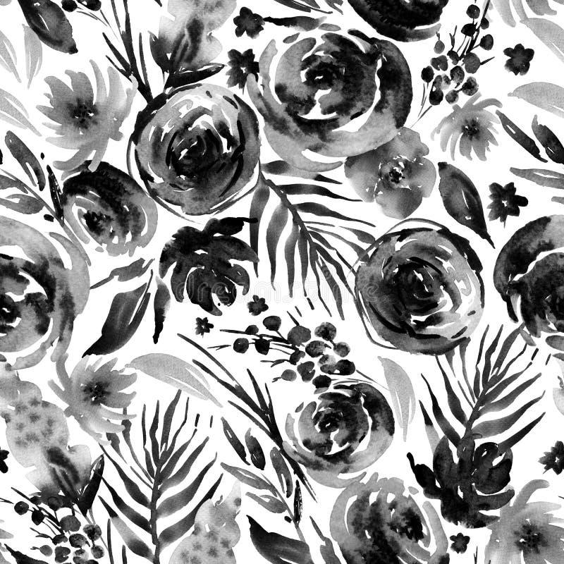 Steg den blom- sömlösa modellen för den abstrakta vattenfärgen, den röda vattenfärgen royaltyfri illustrationer