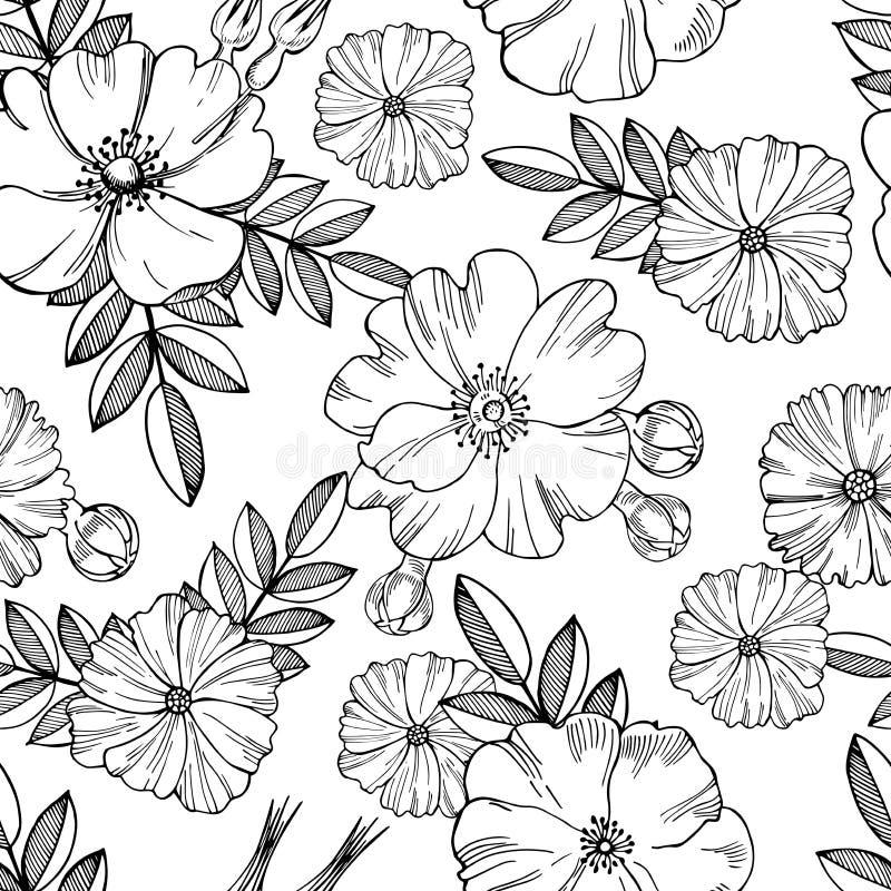 Steg den sömlösa blom- modellen för vektorn med blommor av löst vektor illustrationer