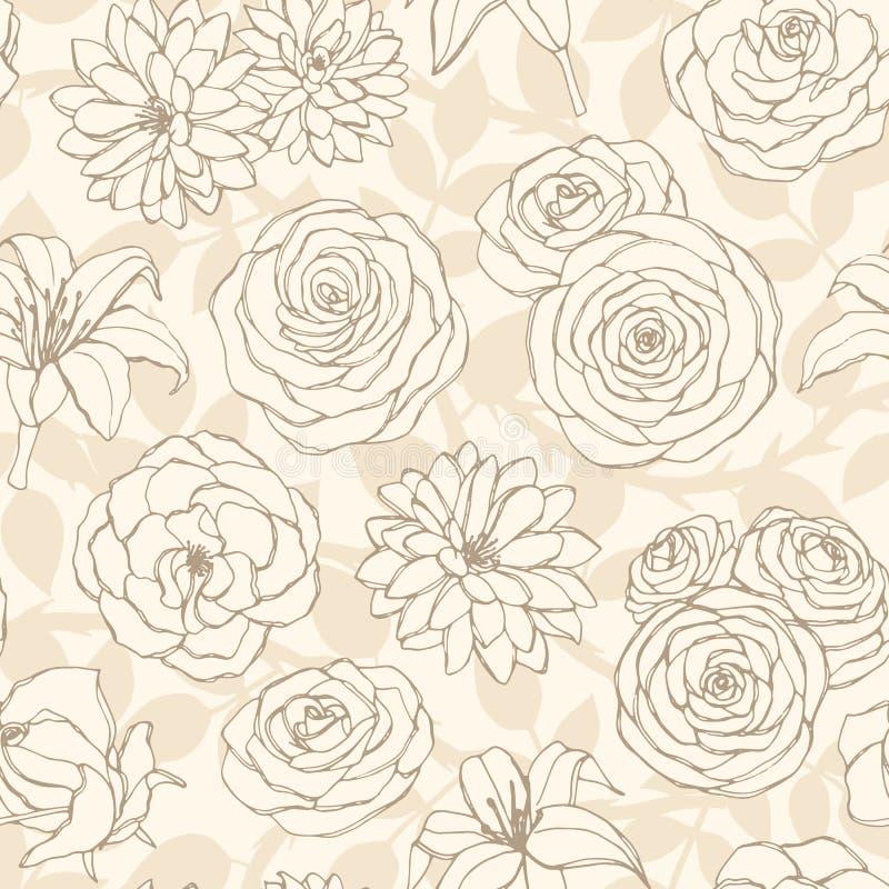 Steg den sömlösa modellen för vektorn med liljan, krysantemumet, kamelian, pion och blommalinjen konst på den beigea bakgrunden vektor illustrationer