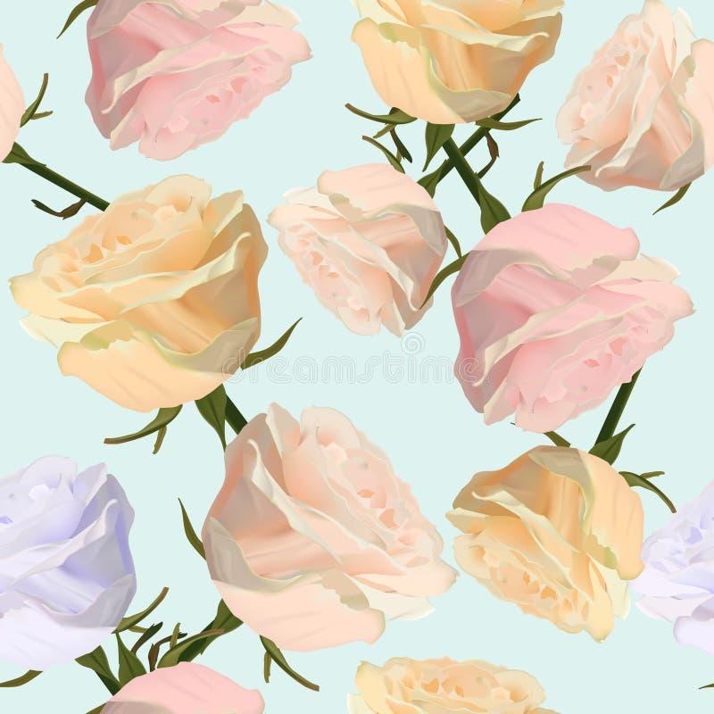Steg den sömlösa modellen för vektorn med vattenfärgen blommor vektor illustrationer
