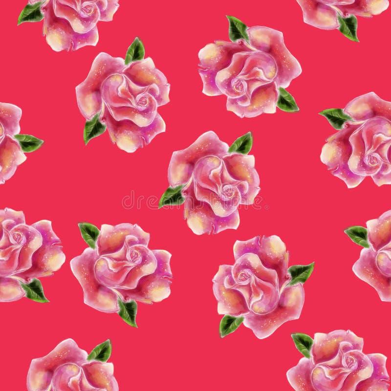 Steg den utdragna vattenfärgen för tappninghanden den sömlösa modellen för blomman vektor illustrationer