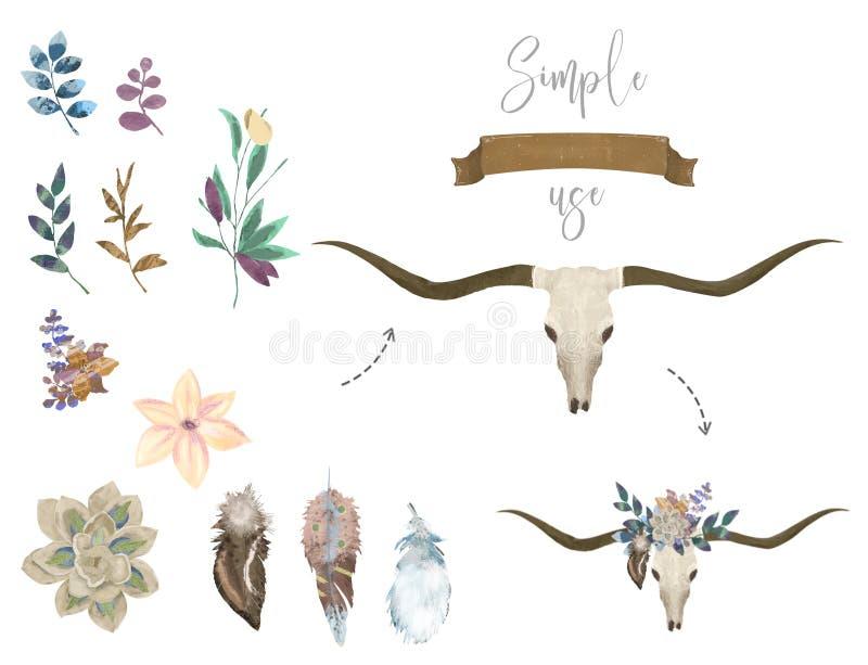 Steg den västra mystiska tjurskallen för den bohemiska vattenfärgen, tryck blommor Bohemiskt huvud för hjortar, västra tappningdj stock illustrationer