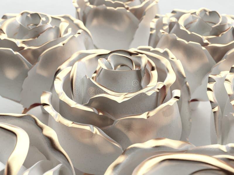 Steg den vita stenen för den guld- blomman på en whitebackground 3d framför arkivfoton