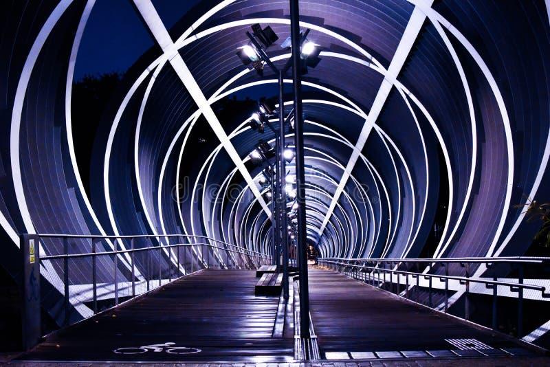 Steg des Arganzuela, Madrid-Stadtzentrum Nacht, Spanien lizenzfreie stockfotografie