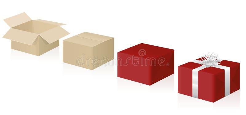 Steg-för-steg anvisning för gåvasjal stock illustrationer