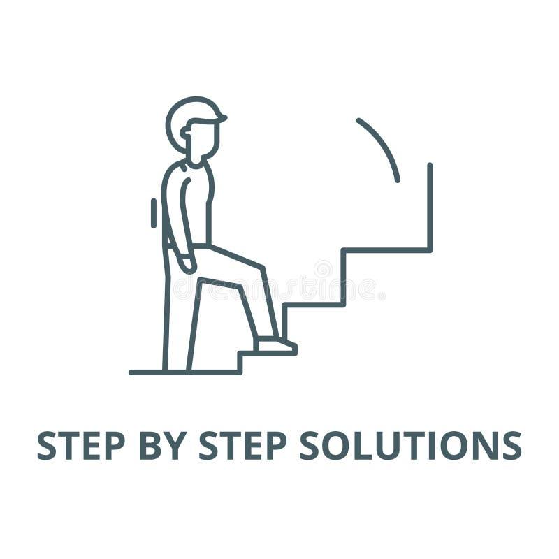 Steg-för-steg lösningsvektorlinje symbol, linjärt begrepp, översiktstecken, symbol vektor illustrationer