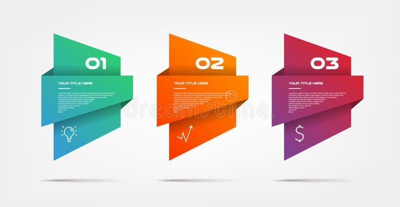 Steg-för-steg lutninginfographics Beståndsdel av diagrammet, graf, diagram med 3 alternativ - delar, processar, timelines stock illustrationer