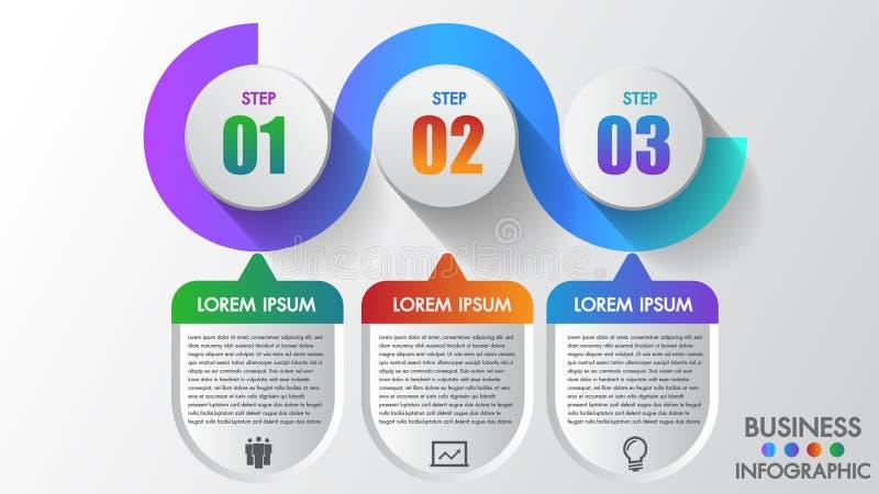 Steg-för-steg för moment för affärsinfographics 3 kan modernt idérikt illustrera ett strategi-, workflow- eller lagarbete arkivbild