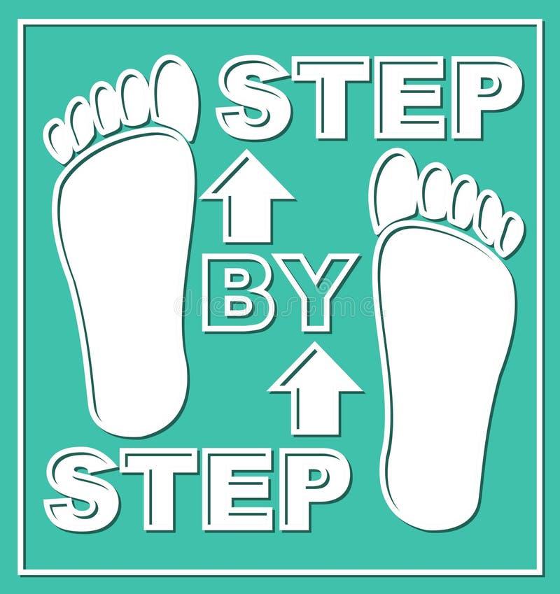 Steg-för-steg emblem Beståndsdel för presentationsdiagram för arbetande process i moment Pictogram med vita fotspår och pilar på  stock illustrationer