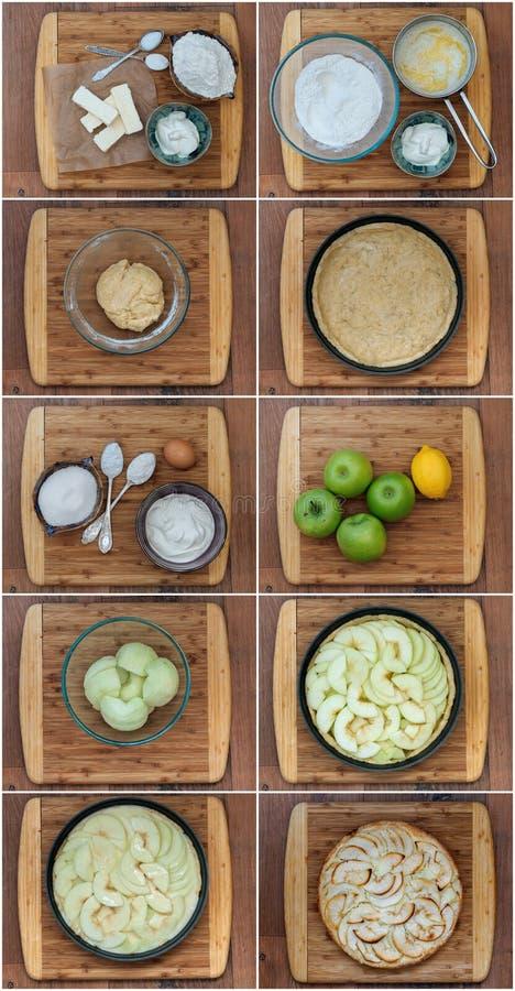 Steg-för-steg recept för äppelpaj royaltyfria bilder