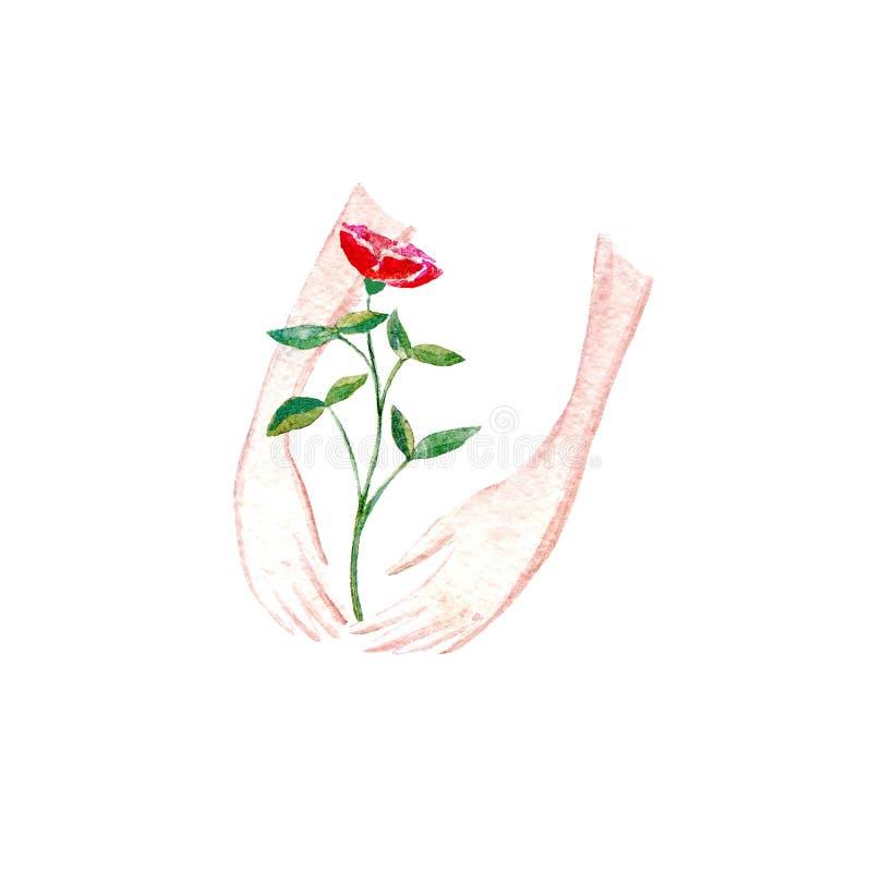 Steg i flickahänder Vårbild royaltyfri illustrationer