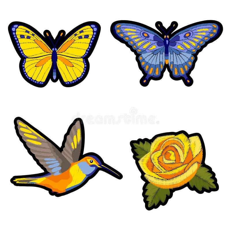Steg, kolibri- och fjärilsbroderilappuppsättningen royaltyfri illustrationer