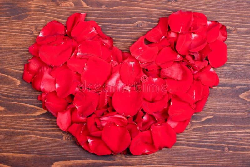 Steg med röda kronblad med hjärtor för valentins dag på galten fotografering för bildbyråer