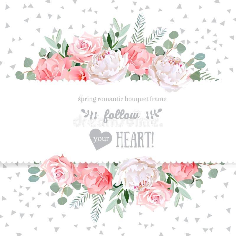 , Steg nejlikan, pionen, rosa färgblommor och den dekorativa kortet för design för eucaliptussidor vektorn avspeglade stock illustrationer