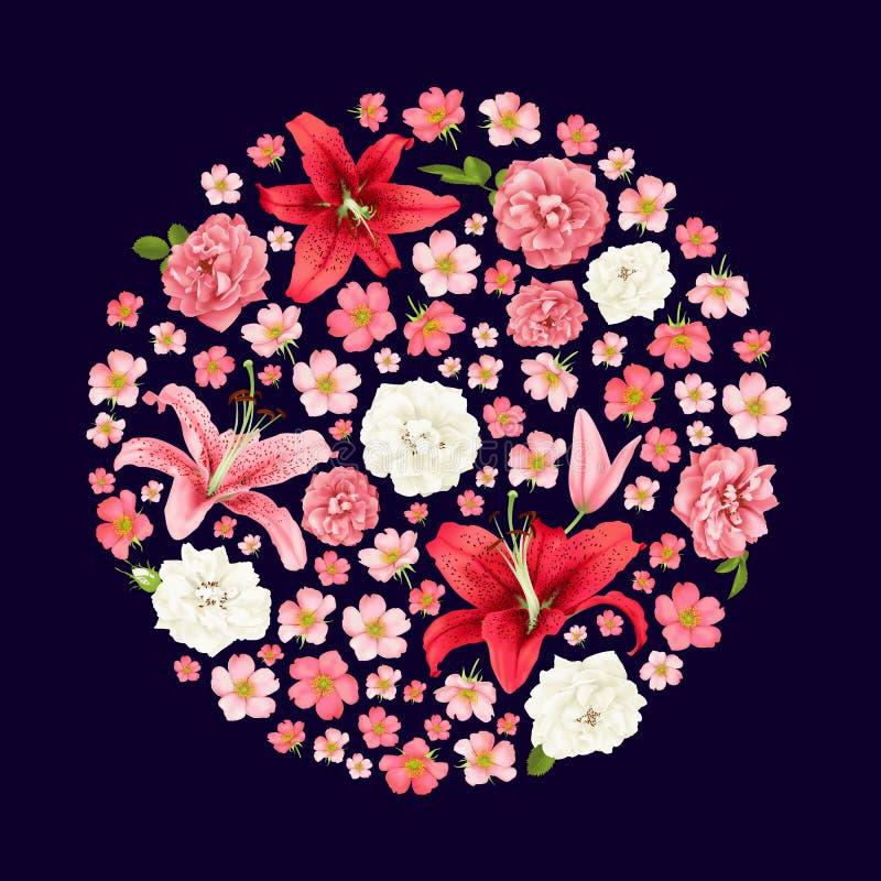 Steg och liljabröllopinvittionen Kort royaltyfri illustrationer