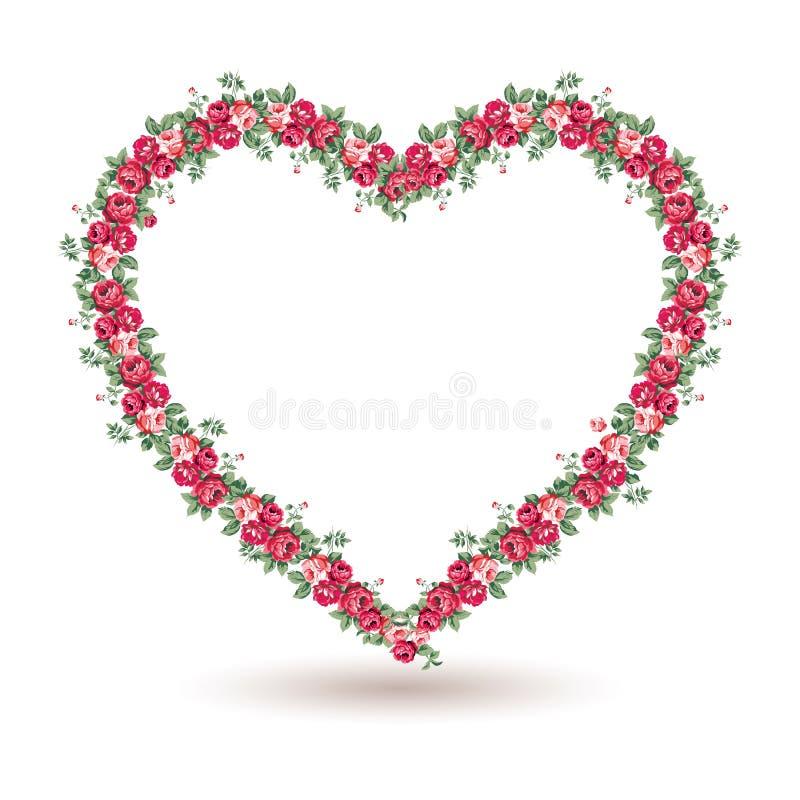 Steg ramen med sjaskiga chic rosor royaltyfri illustrationer
