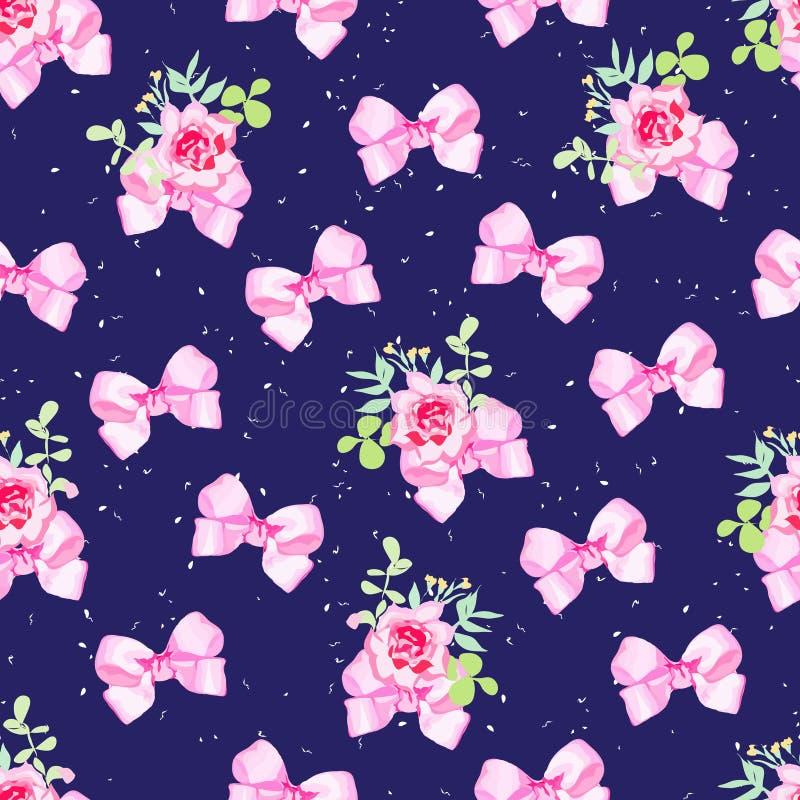 Steg sömlös vektorbakgrund för marinen med rosa färgpilbågar, blommor och vektor illustrationer