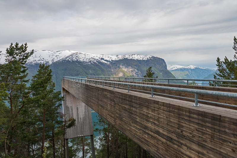 Stegastein lookout. Stegastein lookout at Aurland fjord, Norway royalty free stock photos