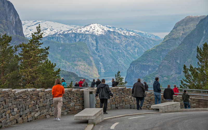 Stegastein lookout. Stegastein lookout at Aurland fjord, Norway stock photography