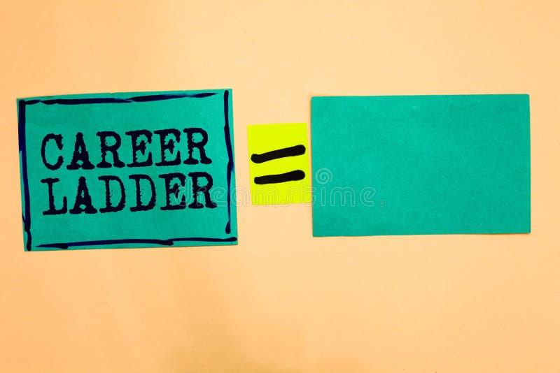 Stege för handskrifttextkarriär Begrepp som betyder anmärkningar för papper för turkos för Job Promotion Professional Progress Up stock illustrationer