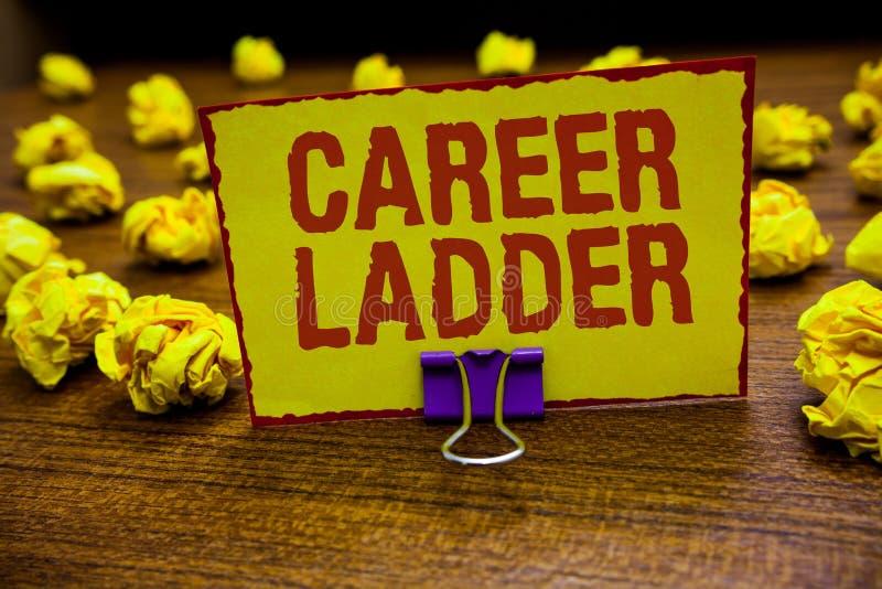 Stege för karriär för ordhandstiltext Affärsidé för gemet för Job Promotion Professional Progress Upward rörlighetsAchiever som r vektor illustrationer