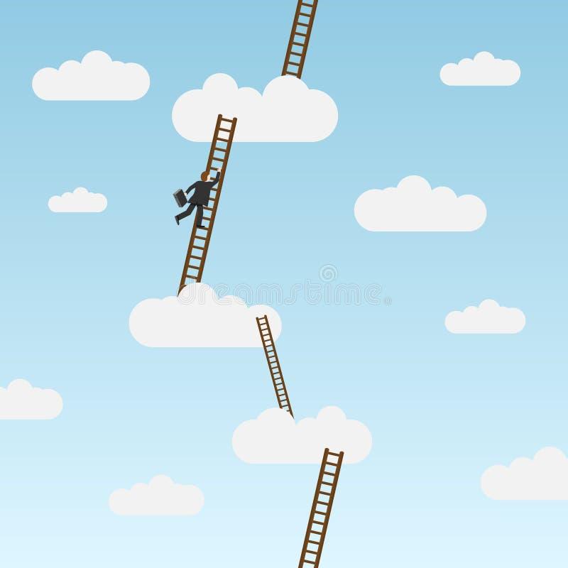 stege för klättring för portföljaffärsman bärande stock illustrationer