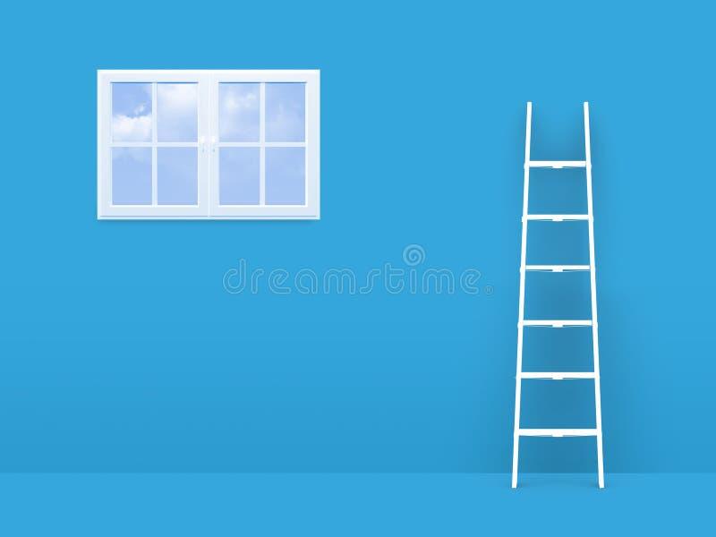 Stege på fel till fönstret royaltyfri illustrationer